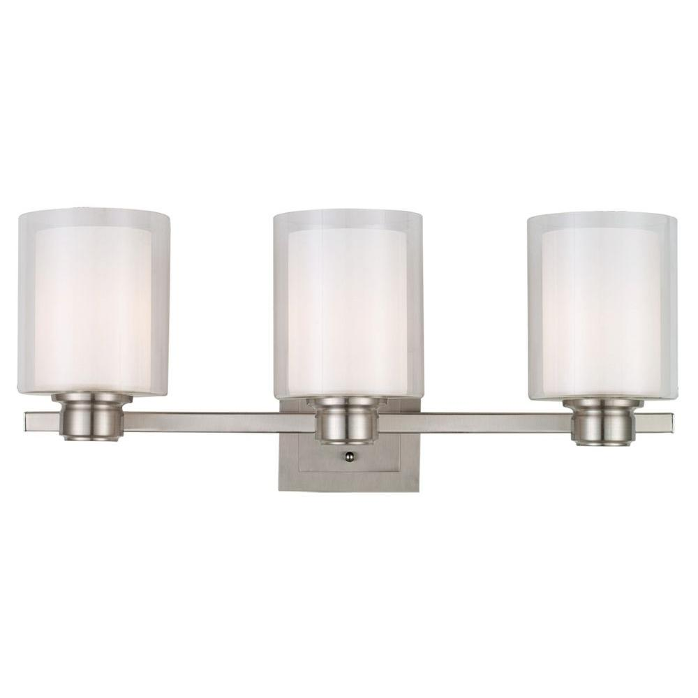 Polished Nickel Bathroom Vanity Light: Design House Oslo 3-Light Brushed Nickel Vanity Light