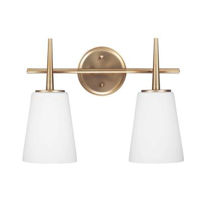 Driscoll 15.5 in. W. 2-Light Satin Brass Wall/Bath Vanity Light with Inside White Painted Etched Glass