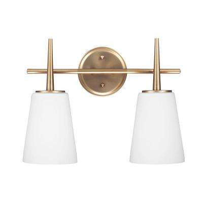 Driscoll 2-Light Satin Bronze Wall/Bath Vanity Light with Inside White Painted Etched Glass