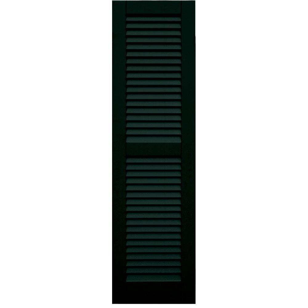 Winworks Wood Composite 15 in. x 55 in. Louvered Shutters Pair #654 Rookwood Shutter Green