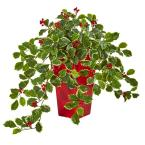 23 in. Variegated Holly with Berries Artificial Plant in Red Planter (Real Touch)