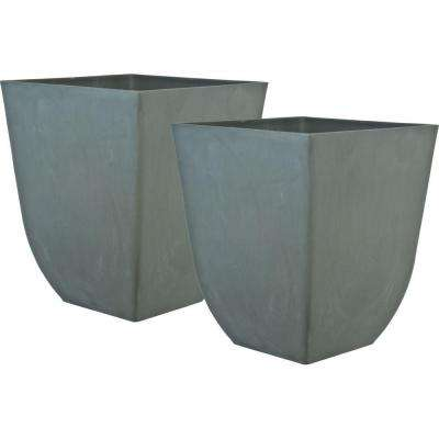 Cubo 19 in. Square Light Gray Plastic Planter (2-Pack)