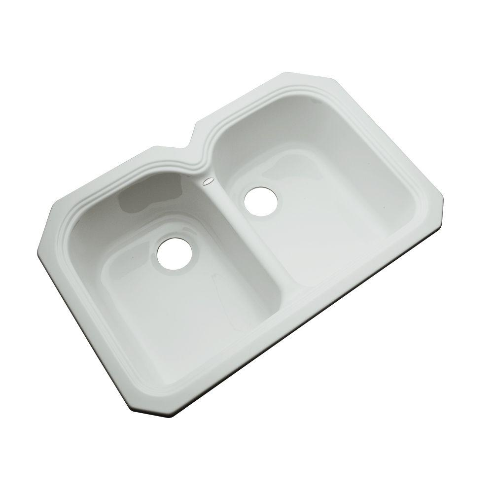 Thermocast Hartford Undermount Acrylic 33 in. 0-Hole Double Basin Kitchen Sink in Sterling Silver