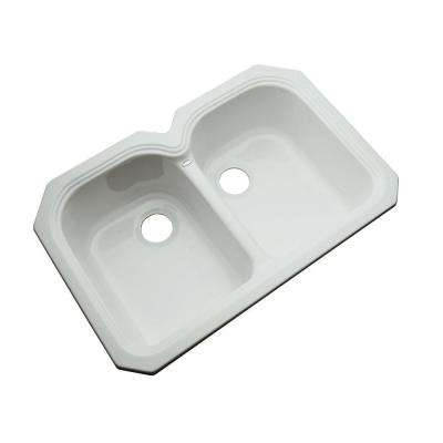 Hartford Undermount Acrylic 33 in. 0-Hole Double Bowl Kitchen Sink in Sterling Silver