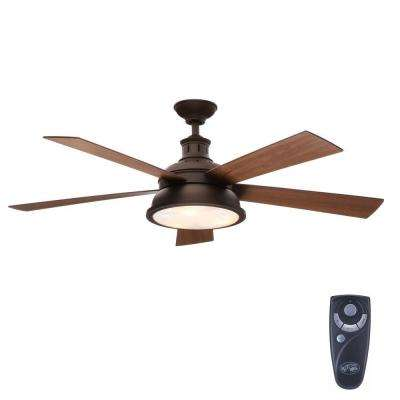 Marlton 52 in. Indoor Oil-Rubbed Bronze Ceiling Fan with Light Kit and Remote Control