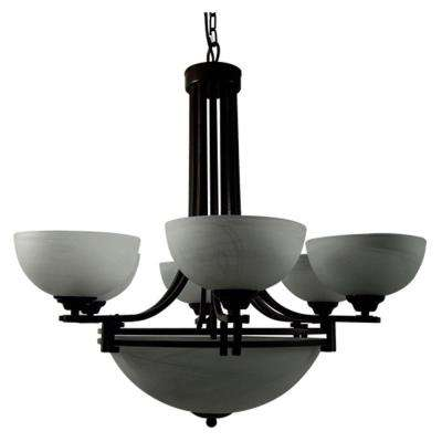 Sequoia Collection 9-Light Dark Brown Hanging Chandelier with Frosted Alabaster Glass Shade
