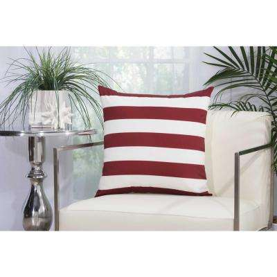 Stripes 20 in. Red and White Indoor and Outdoor Pillow