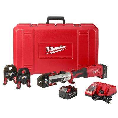 M18 18-Volt Lithium-Ion 1/2 in. to 1 in. FORCE LOGIC Long Throw Cordless Press Tool Kit w/ 3 Jaws, (2) 3.0 Ah Batteries