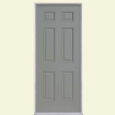 6-Panel Primed Steel Prehung Front Door with No Brickmold