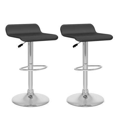 Adjustable Height Black Leatherette Swivel Bar Stool with Curved Seat (Set of 2)