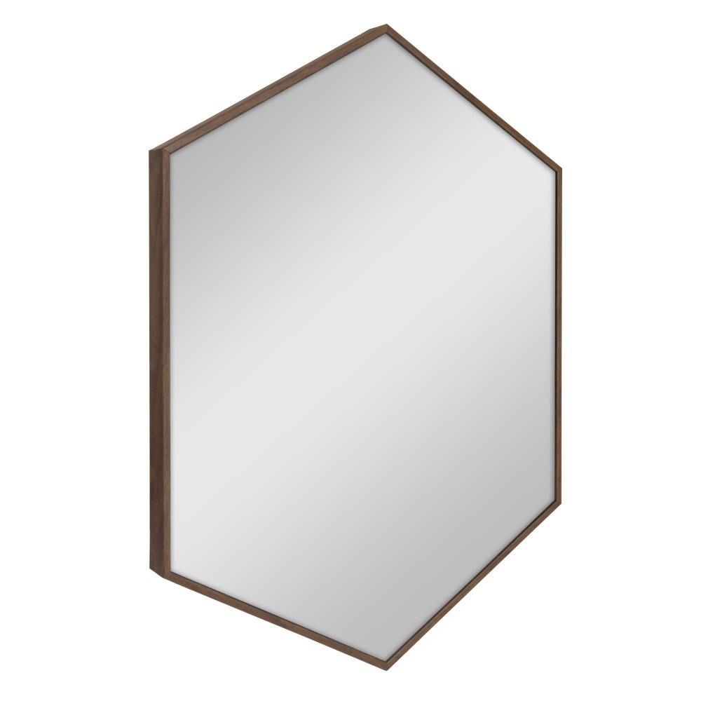 Rhodes Hexagon Walnut Brown Accent Mirror