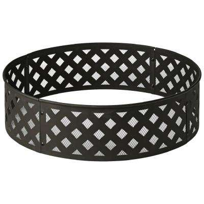 30 in. Steel Fire Ring with Lattice Pattern in Black