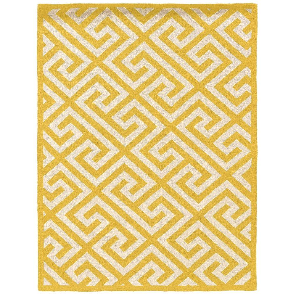 Linon home decor silhouette key yellow and white 1 ft 10 in x 2 ft 10 in indoor area rug rug - Rugs and home decor decor ...