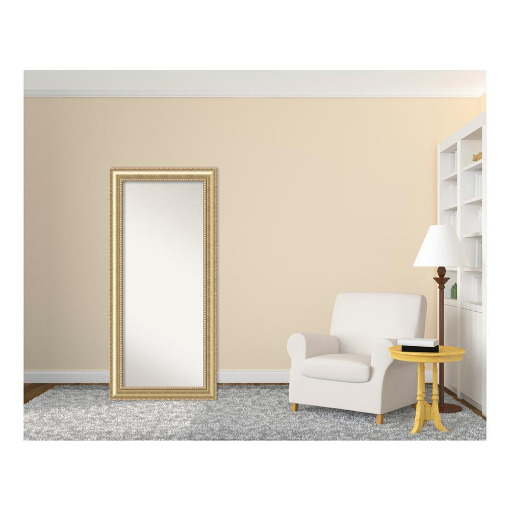 Amanti Art Astoria Champagne Wood 31 in. W x 67 in. H Traditional Floor/Leaner Mirror