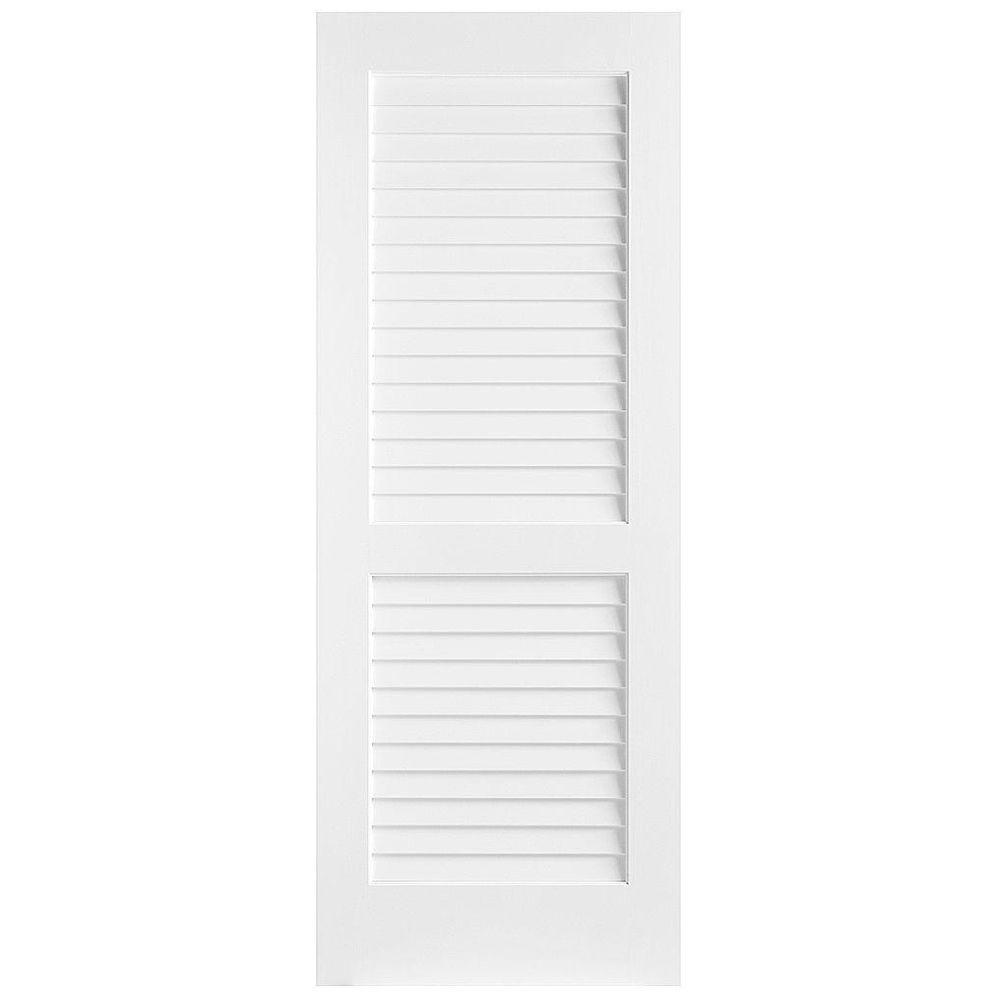 Masonite 32 in. x 80 in. Plantation Smooth Full Louver Solid Core Primed Pine Interior Door Slab