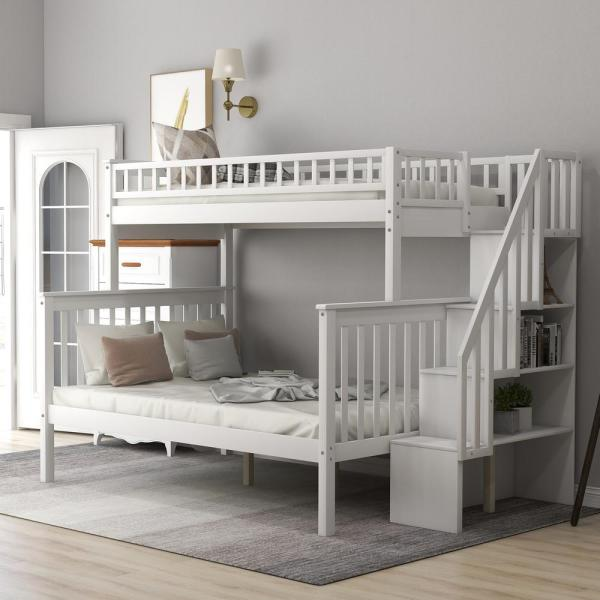 Harper Bright Designs White Twin Over Full Stairway Bunk Bed With Storage And And Stairs For Kids Sm000096aak 1 The Home Depot