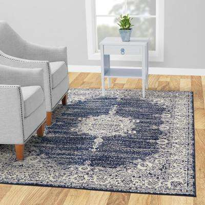 Jasmin Collection Oriental Medallion Design Ivory and Navy 8 ft. x 10 ft. Area Rug