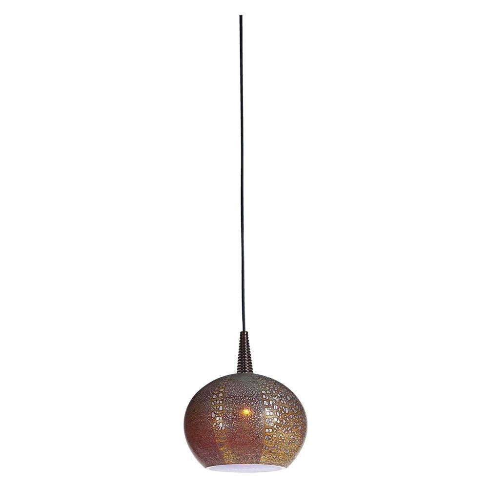 Illumine 1-Light LED Pendant Brushed Steel Finish Silver Amber Opaline Glass-DISCONTINUED
