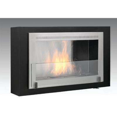 Montreal 41 in. Ethanol Wall Mounted Fireplace in Matte Black with Stainless Interior