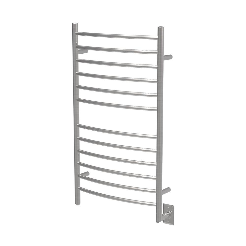 Amba Products Radiant Large Curved 12-Bar Electric Towel Warmer in Brushed Stainless Steel
