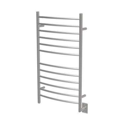 Radiant Large Curved 12-Bar Electric Towel Warmer in Brushed Stainless Steel
