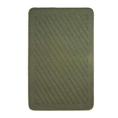 Griddle Textured Loop Sage Green 18 In. X 28 In. Oblong Kitchen Rug
