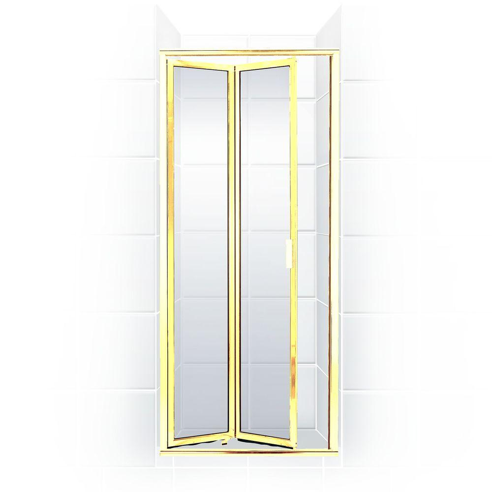 Coastal Shower Doors Paragon Series 22 in. x 71 in. Framed Bi-Fold Double Hinged Shower Door in Gold and Clear Glass