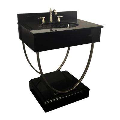 Ascetic 31.125 in. W x 21.65 in. D Bath Vanity in Black with Granite Vanity Top in Black with Black Nickel Basin