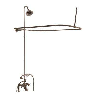 3-Handle Claw Foot Tub Faucet with Hand Shower and Shower Unit in Brushed Nickel