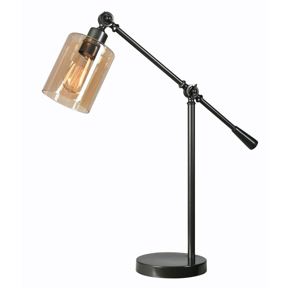 Kenroy Home Thornton 25 In. Bronze Desk Lamp With Amber Glass Shade