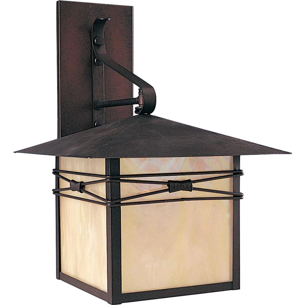 Maxim Lighting Taliesin 1-Light Burnished Outdoor Wall Lantern Sconce Maxim Lighting's Taliesin Collection is a transitional style, exclusive to outdoor lighting. The Taliesin Collection is offered in a Burnished finish and Iridescent glass. Shop the collection for Wall Lanterns and Pole/Post Lanterns.