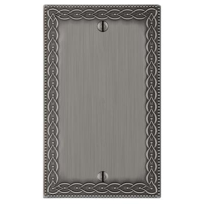 Amelia 1 Gang Blank Metal Wall Plate - Antique Nickel