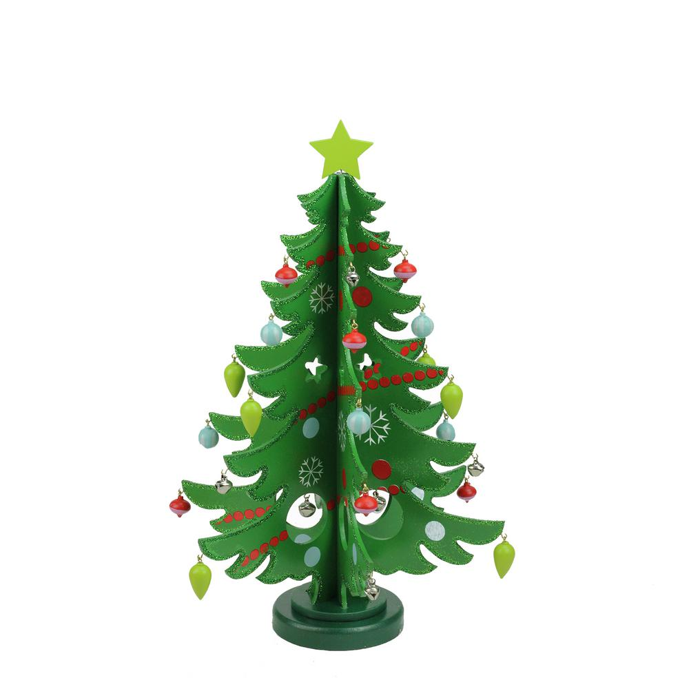 decorative wooden christmas tree cut out table top decoration - Wooden Christmas Decorations