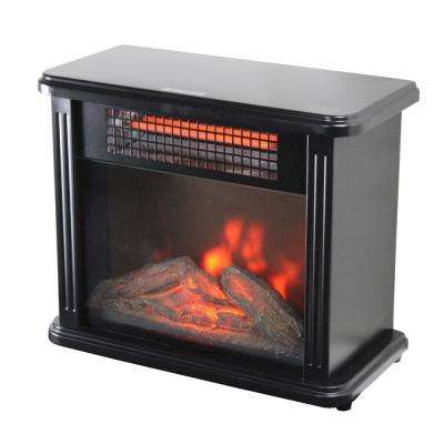 10 in. 2388 BTU Portable Mini Fireplace Electric Heater Furnace with Realistic 3D Flame and Ember Bed in Black