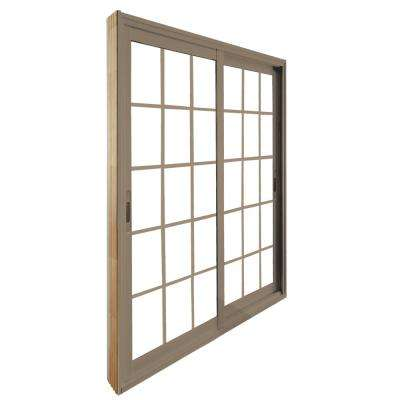 72 in. x 80 in. Double Sliding Sandstone Patio Door with 15 Lite Internal Flat Grill