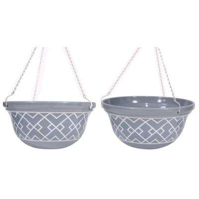 14 in. D Melamine Hanging Planter with Gray and White Interlocking Squares Pattern (2-Set)