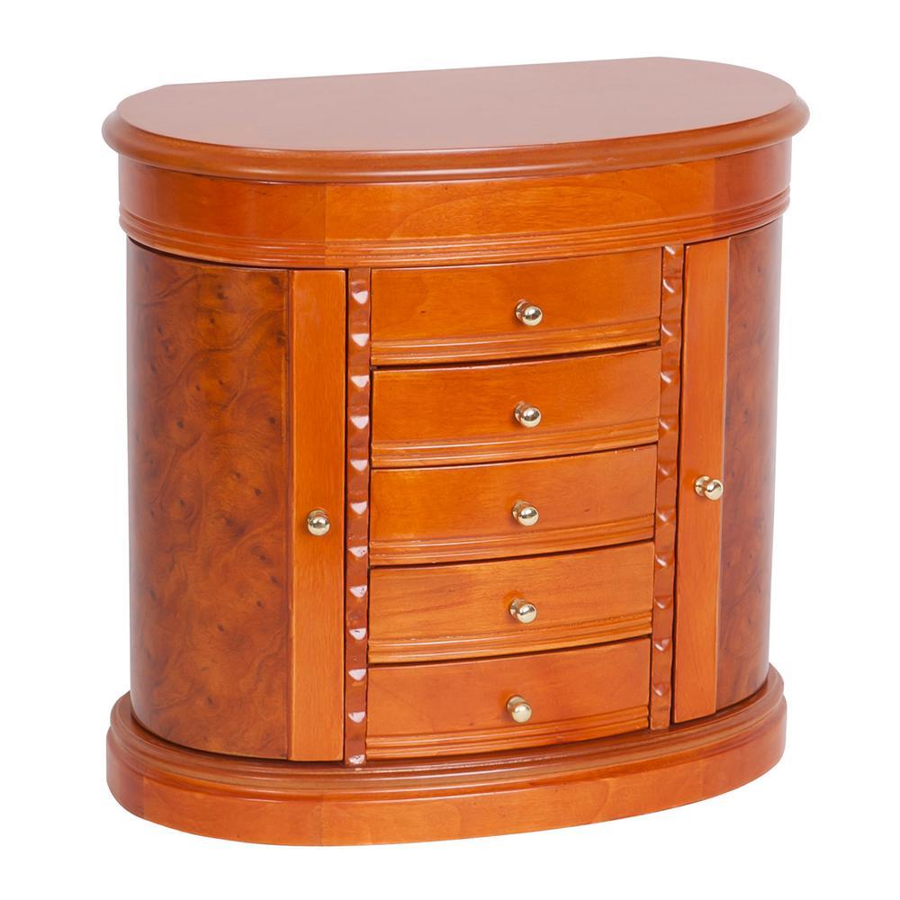 Trinity Burl-Wood Walnut Finish Wooden Jewelry Box