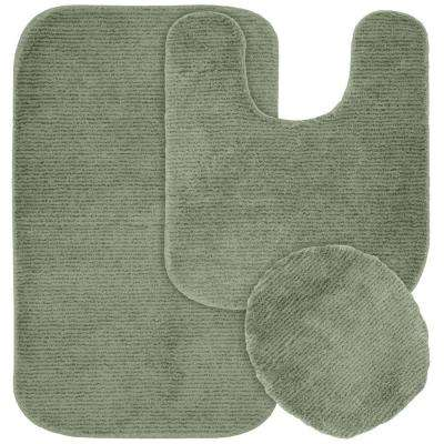 Glamor Deep Fern 21 in. x 34 in. Washable Bathroom 3-Piece Rug Set