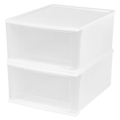 15.67 in. x 8.86 in. White 32 Qt. Stacking Drawer (2-Pack)