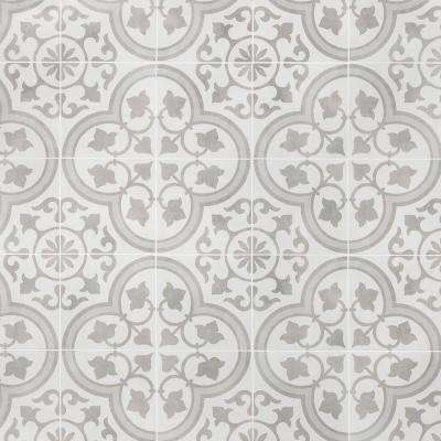 Sintra Silver Ornate Encaustic 9 in. x 9 in. x 10mm Mate Porcelain Floor and Wall Tile (20 pieces / 10.65 sq. ft. / box)
