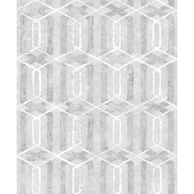 57.8 sq. ft. Stormi Grey Geometric Wallpaper