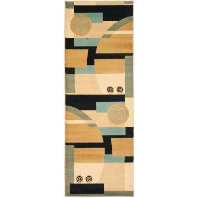 Porcello Black/Multi 2 ft. x 9 ft. Runner Rug
