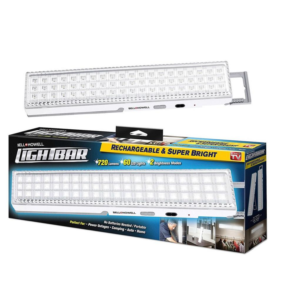 Bell + Howell Super Bright Portable Rechargeable 60 Integrated LED White Light Bar