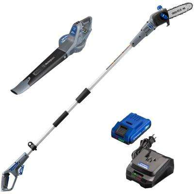 20-Volt Cordless Leaf Blower and Pole Saw Combo Kit (2-Tool) 2 Ah Battery and Rapid Charger Included