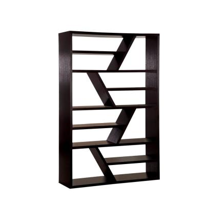70.75 in. Espresso Wood 12-shelf Accent Bookcase with Open Back
