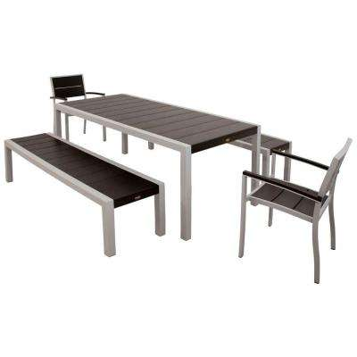 Surf City Textured Silver 5-Piece Bench Patio Dining Set with Charcoal Black Slats