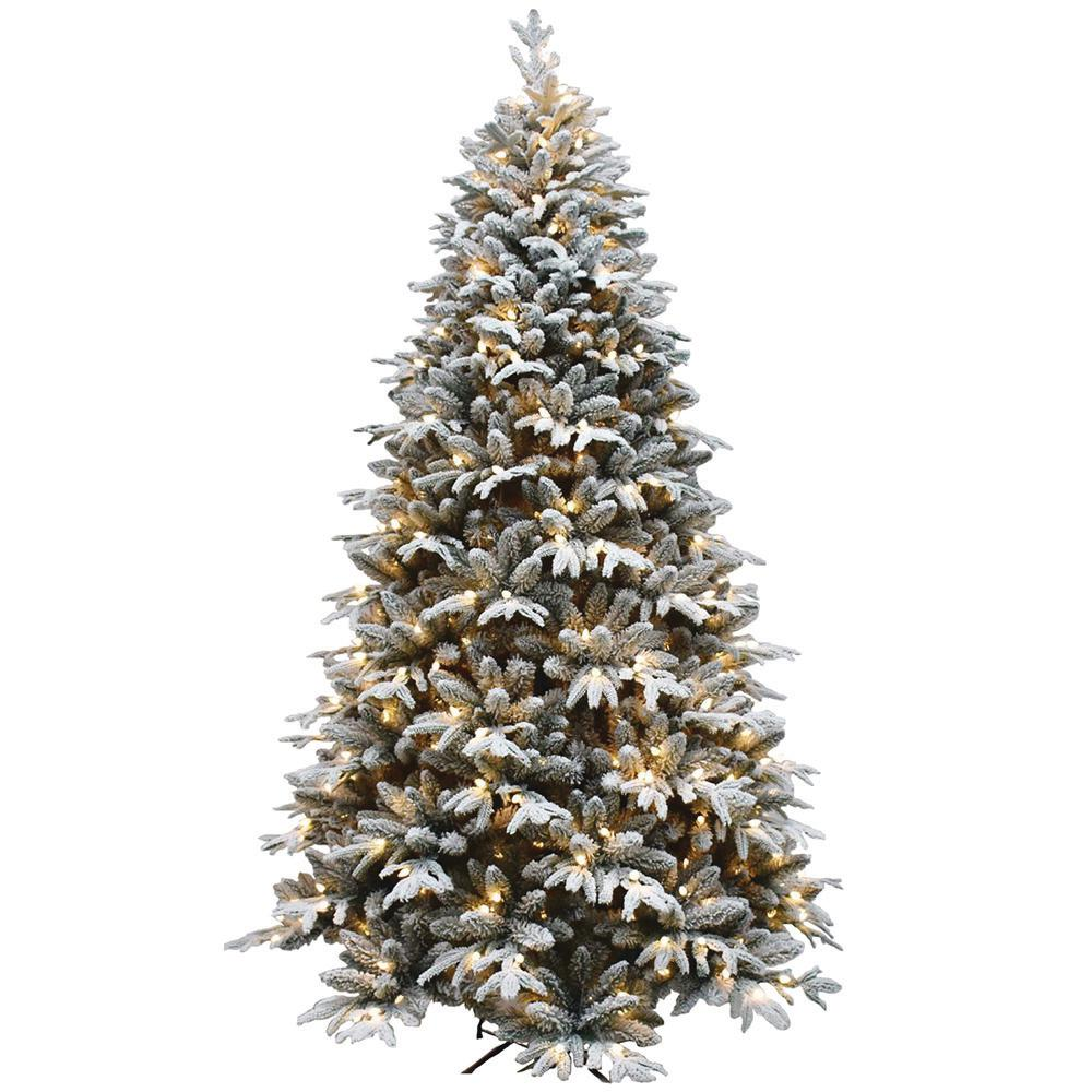 Artifical Christmas Trees.7 5 Ft Pre Lit Led Flocked Artificial Christmas Tree With 450 Lights