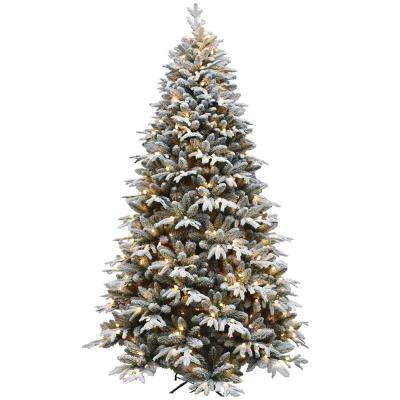 7.5 ft. Pre-Lit LED Flocked Artificial Christmas Tree with 450 Lights