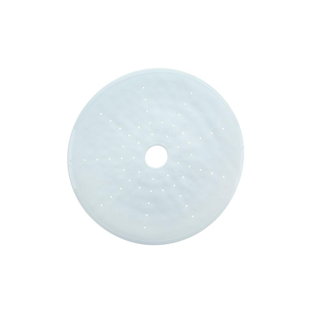 """White Mat by SlipX Solutions Round Shower Mat with Suction Cups 23/"""" Diameter"""