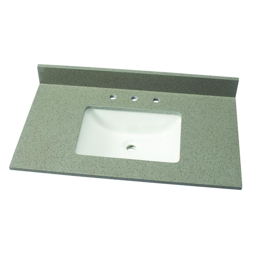37 in. W Quartz Single Vanity Top in London Fog with